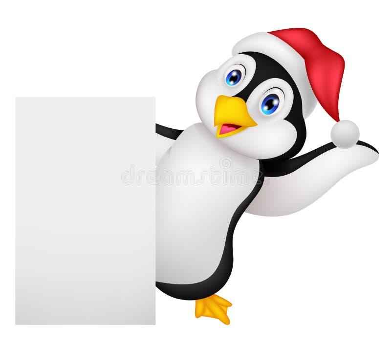 Leuk pinguïnbeeldverhaal met het rode hoed golven royalty-vrije illustratie