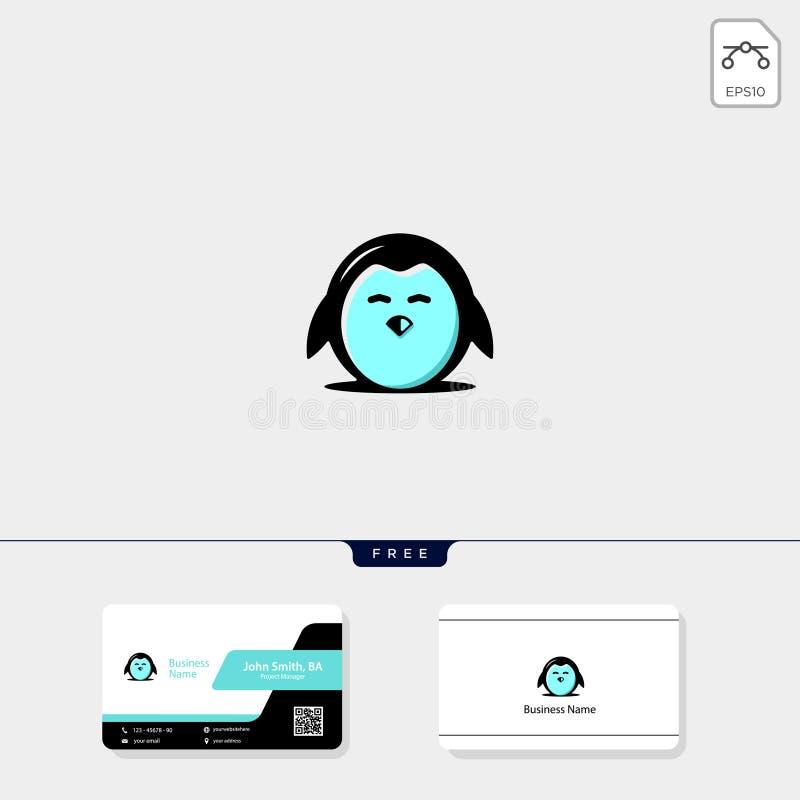 leuk pinguïnpictogram, de vectorillustratie van het embleemmalplaatje en embleeminspiratie, vrij adreskaartjeontwerp vector illustratie