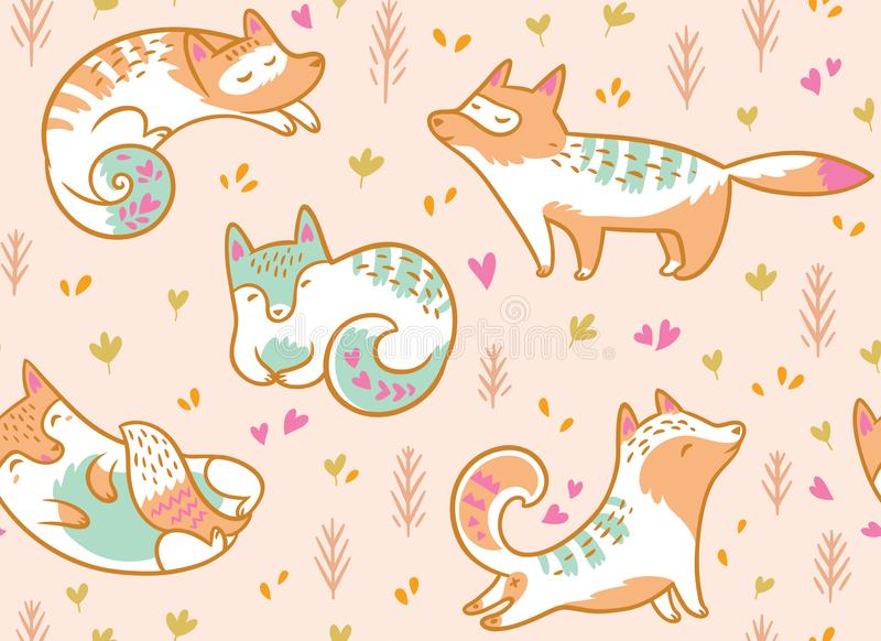 Leuk polair vossen naadloos patroon Hand getrokken vectorillustratie in beeldverhaalstijl stock illustratie