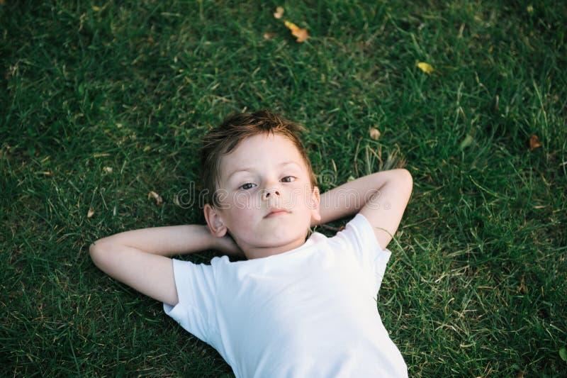 Leuk portret die van weinig jongen op groen gras liggen stock foto