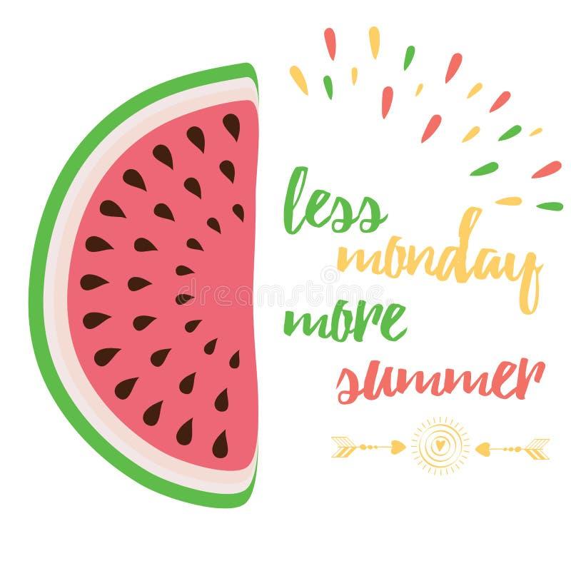Leuk positief citaat met watermeloen en het zeggen van 'Minder Maandag Meer Zomer' vector illustratie
