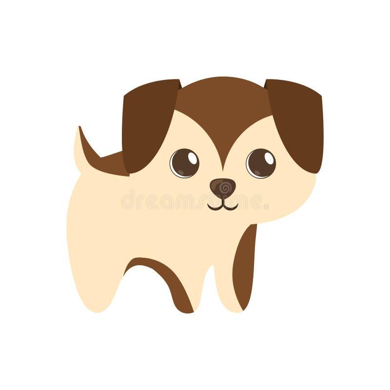 leuk puppy weinig bruine status stock illustratie
