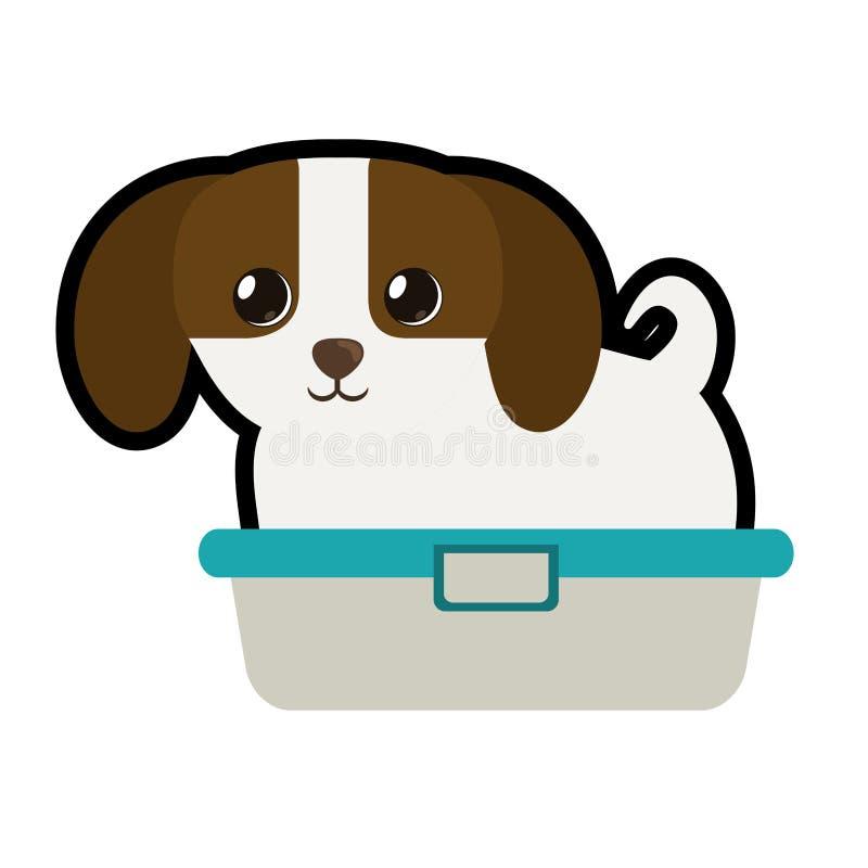 leuk puppy weinig honds aanbiddelijke badkuip vector illustratie