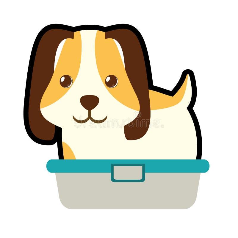 leuk puppy weinig huisdieren binnenlandse badkuip stock illustratie