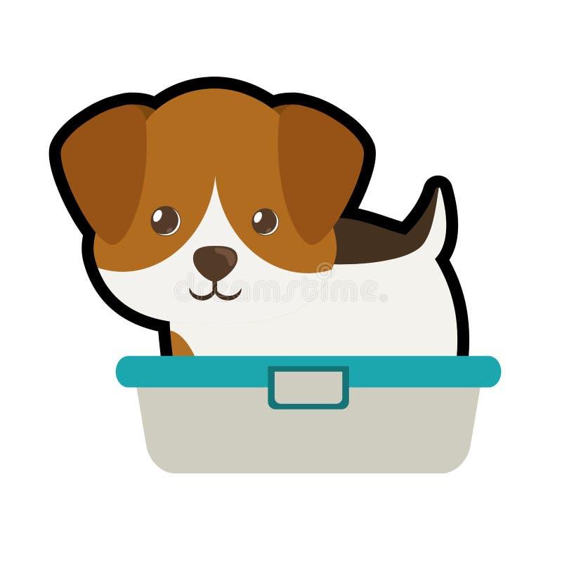 leuk puppy weinig portret mooie badkuip royalty-vrije illustratie