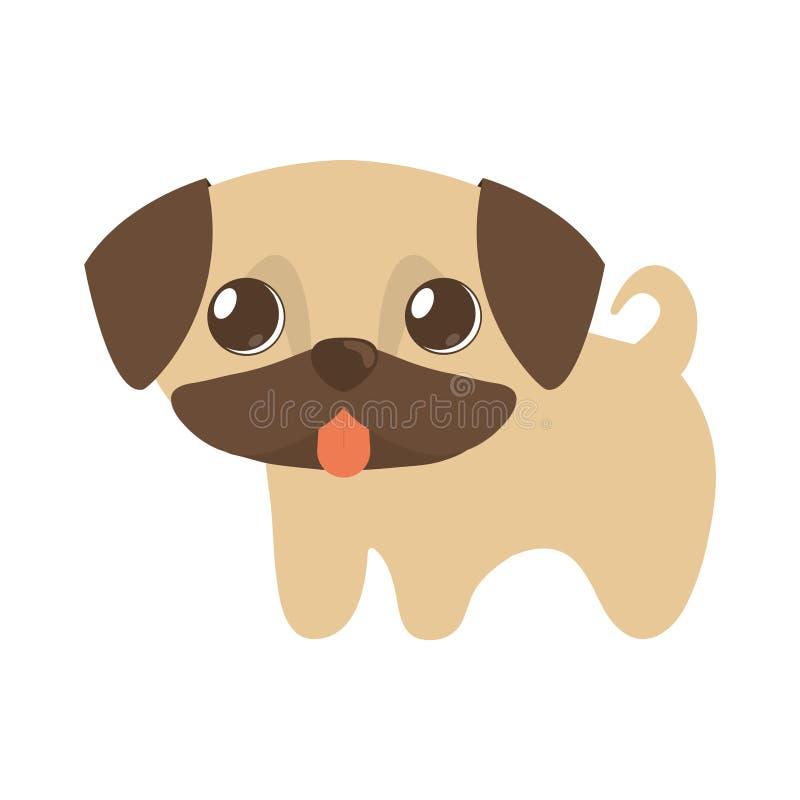 leuk puppy weinig tong uit vector illustratie