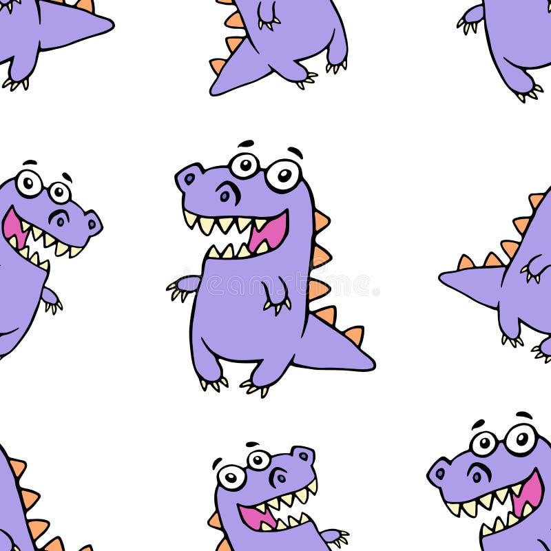 Leuk purper het glimlachen dinosauruspatroon Vector illustratie vector illustratie