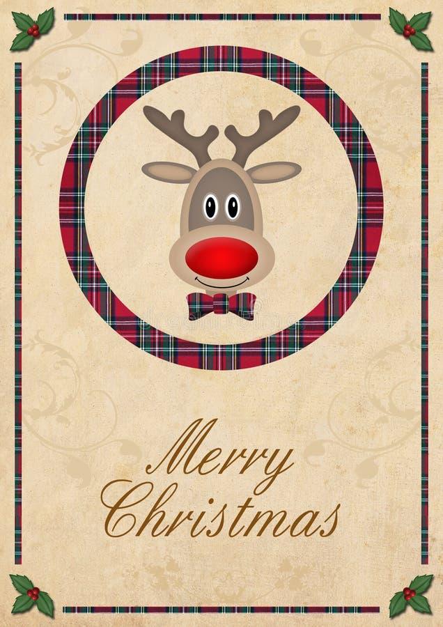 Leuk rendier in cirkel met rood plaidpatroon, op oude document achtergrond en test vrolijke Kerstmis, het ontwerp van de Kerstmis stock illustratie