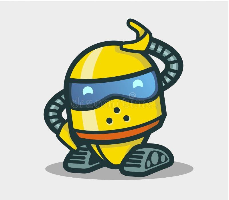 Leuk robot geanimeerd karakter voor ontwerp royalty-vrije illustratie