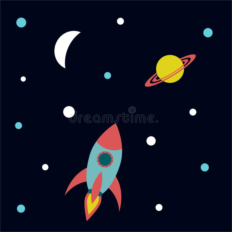 Leuk Rocket Ship Vector Illustration vector illustratie