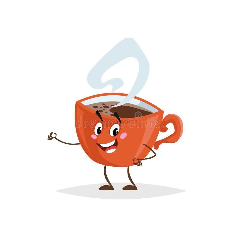 Leuk rood de kopkarakter van de beeldverhaalkoffie Vermenselijkte mok met hete drank De mascotte van het ochtendontbijt Sterke sm royalty-vrije illustratie