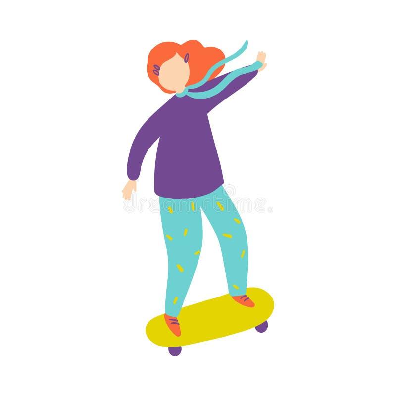 Leuk rood haarmeisje in violette sweater bij groen skateboard royalty-vrije illustratie