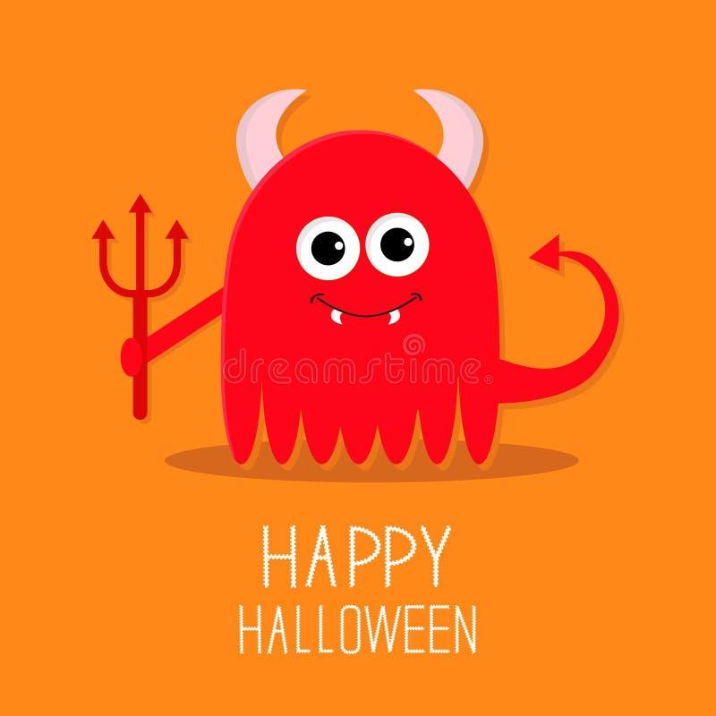 Leuk rood kwaad monster met hoornen, hoektanden en vector illustratie
