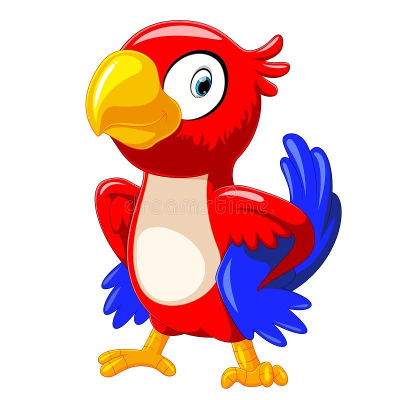Leuk rood papegaaibeeldverhaal met het goede stellen stock illustratie