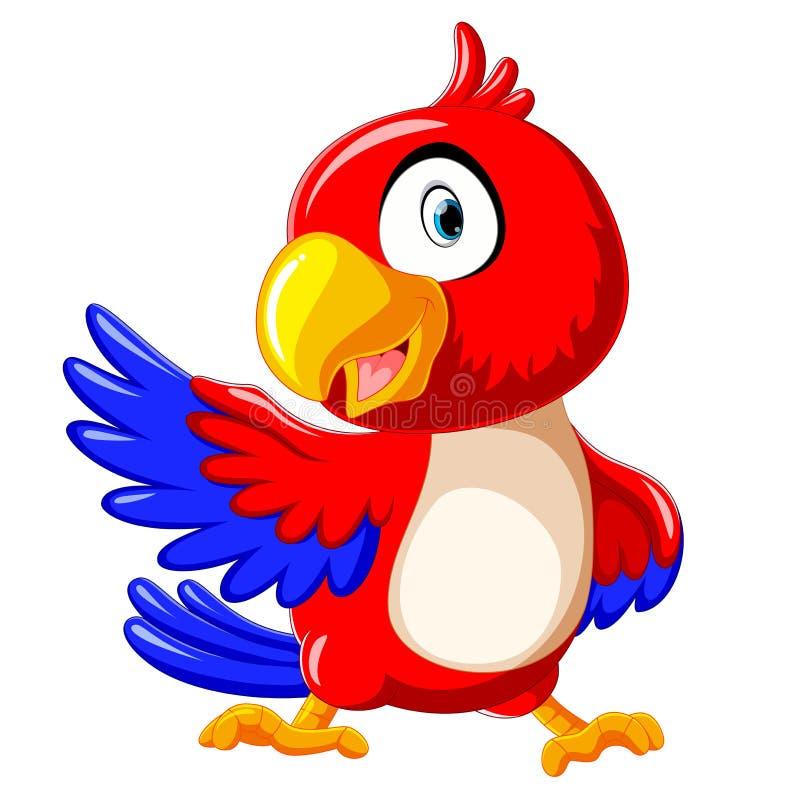 Leuk rood papegaaibeeldverhaal met presentatie stock illustratie
