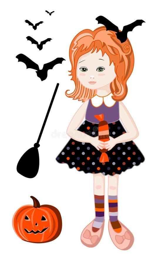Leuk roodharigemeisje in Halloween-heksenkostuum stock illustratie