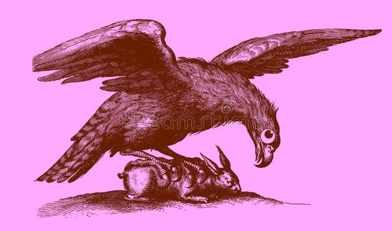 Leuk roofdier: adelaar met uitgestrekte vleugels die op een captur zitten royalty-vrije illustratie