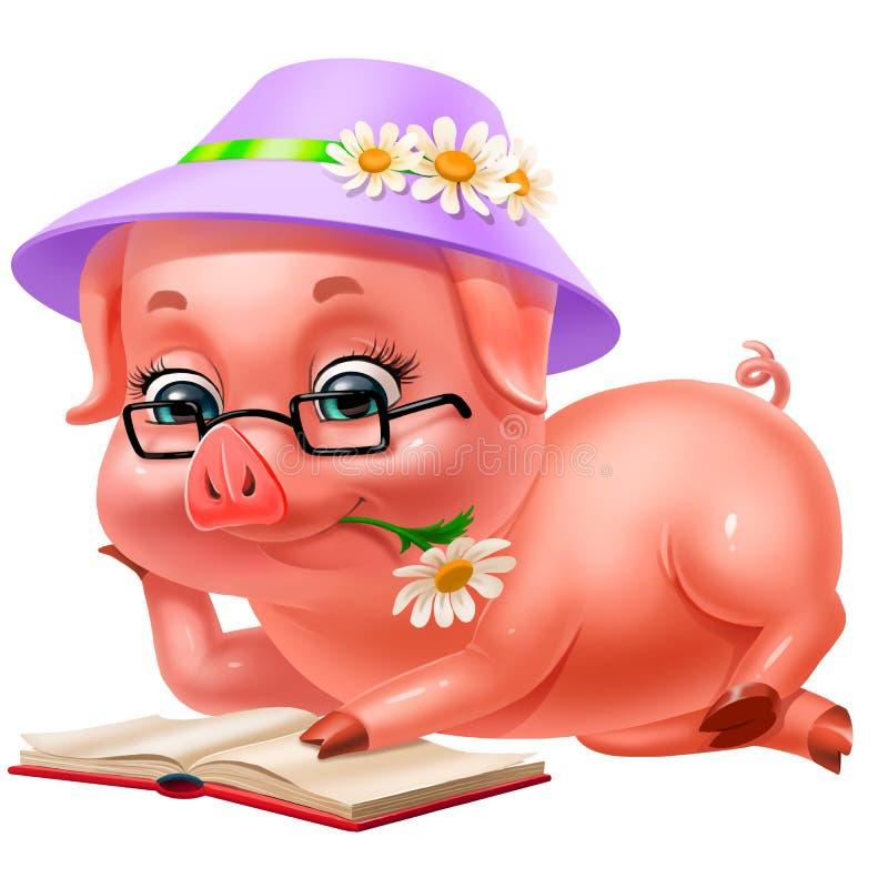 Leuk roze biggetje in hoed die die een boek lezen, op wit wordt geïsoleerd stock afbeeldingen