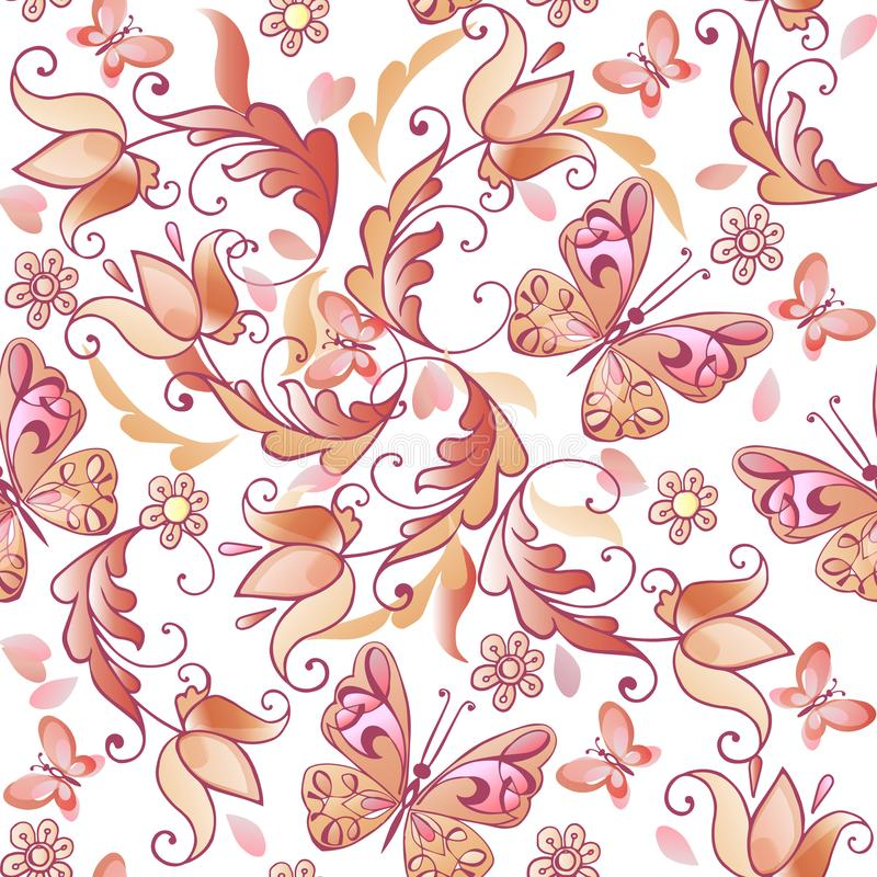Leuk roze bloemen naadloos patroon met vlinders en harten Vector bloemen naadloos patroon voor groetkaarten, uitnodigingen royalty-vrije illustratie