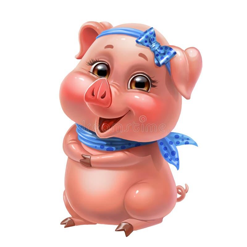 Leuk roze die varken met een boog en een sjaal, op wit wordt geïsoleerd royalty-vrije stock afbeeldingen