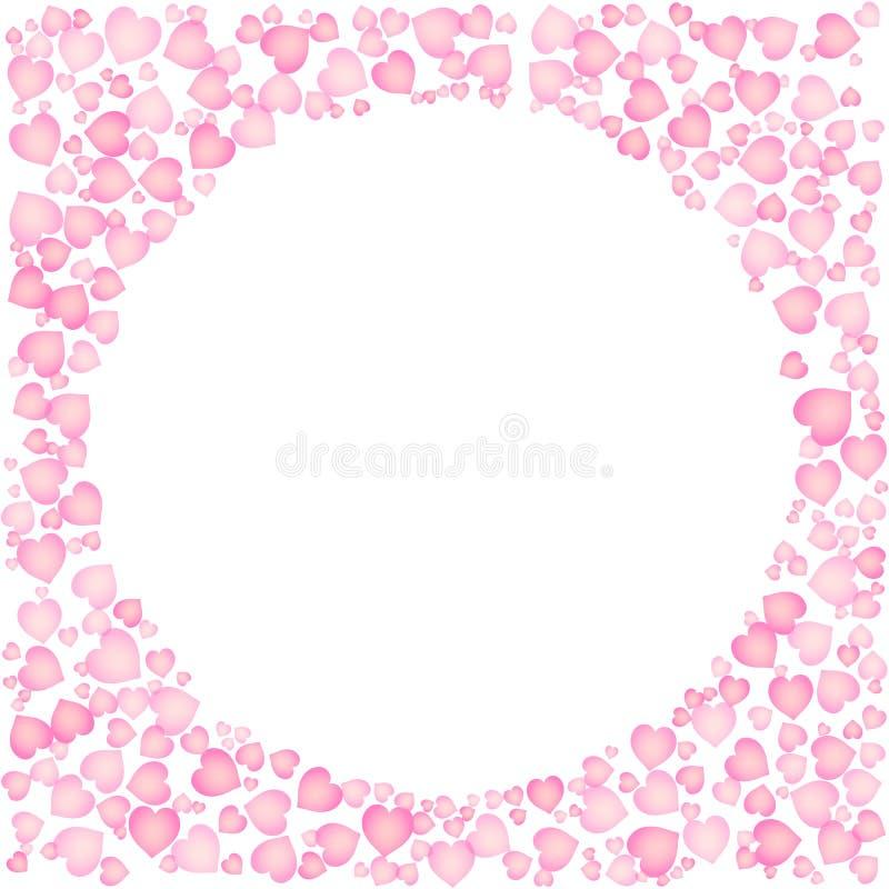 Leuk roze kader voor Valentine Day Cirkelvorm uit hartenornament Ge?soleerde editable vectorillustratie op witte achtergrond vector illustratie