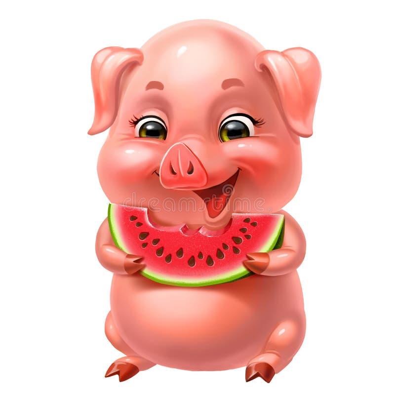 leuk roze varken die die watermeloen eten, op wit wordt geïsoleerd royalty-vrije stock fotografie