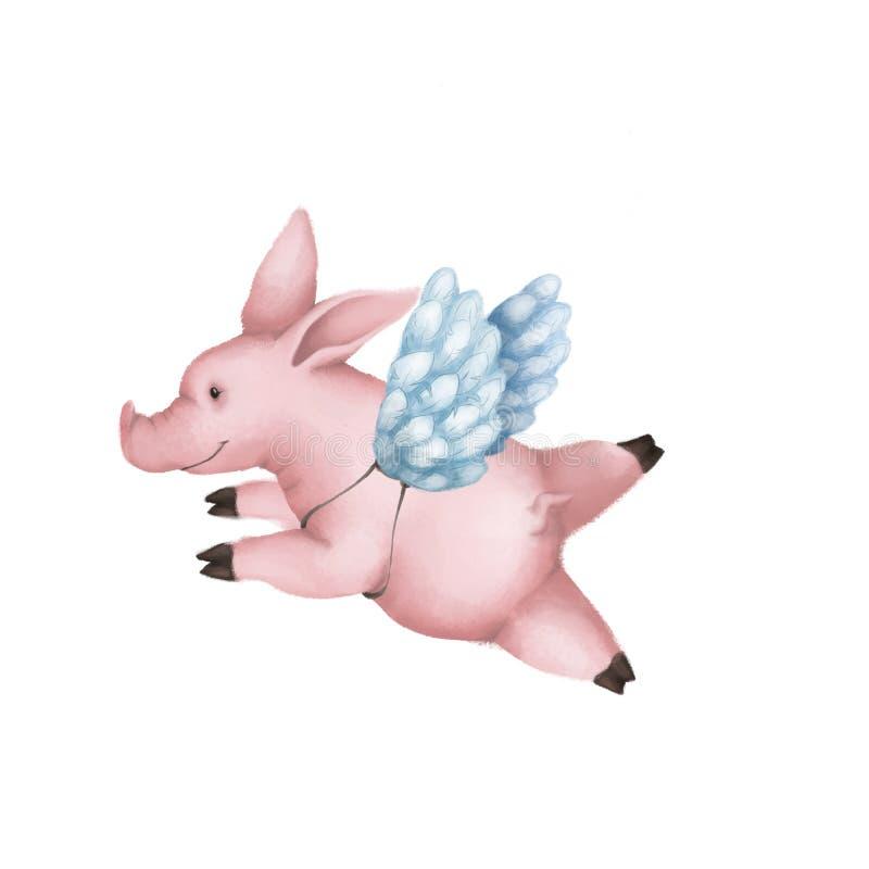 Leuk roze varken met engelenvleugels Geïsoleerdj op witte achtergrond vector illustratie