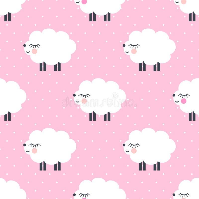 Leuk schapen naadloos patroon op roze stippenachtergrond stock illustratie