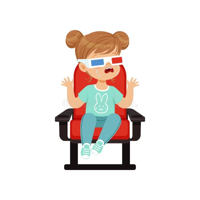 Leuk schreeuwend meisje die in 3d glazen op een rode stoel en het letten op 3D film in de bioskoop vectorillustratie zitten royalty-vrije illustratie