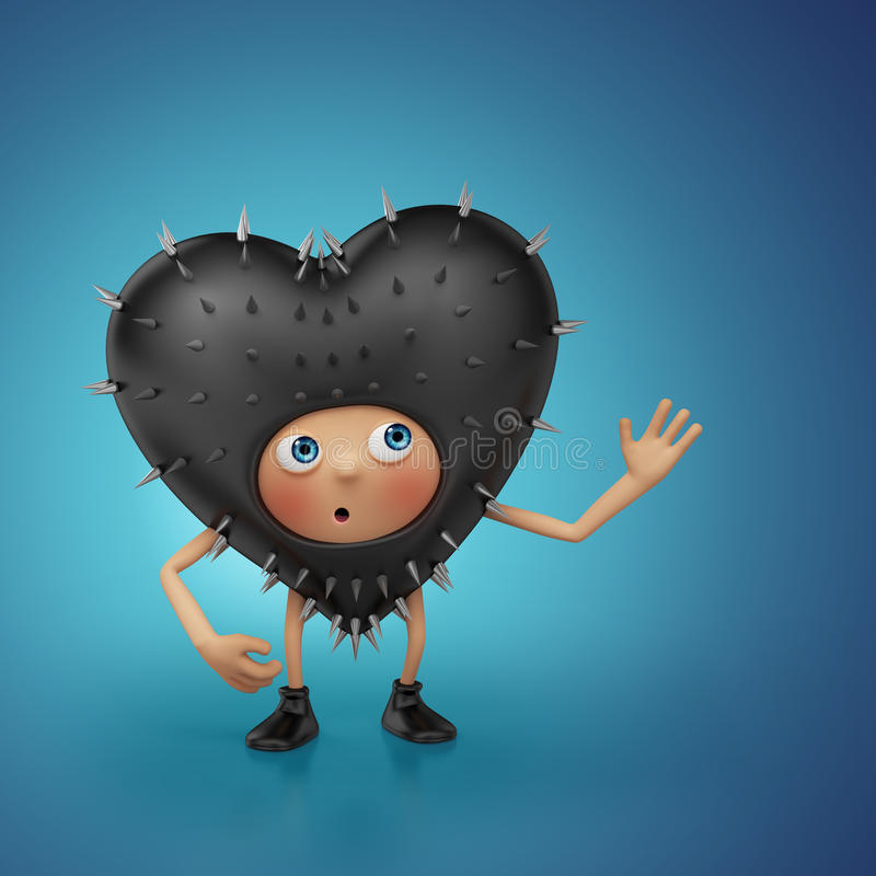 Leuk schuw zwart het hartbeeldverhaal van de Valentijnskaart stock illustratie