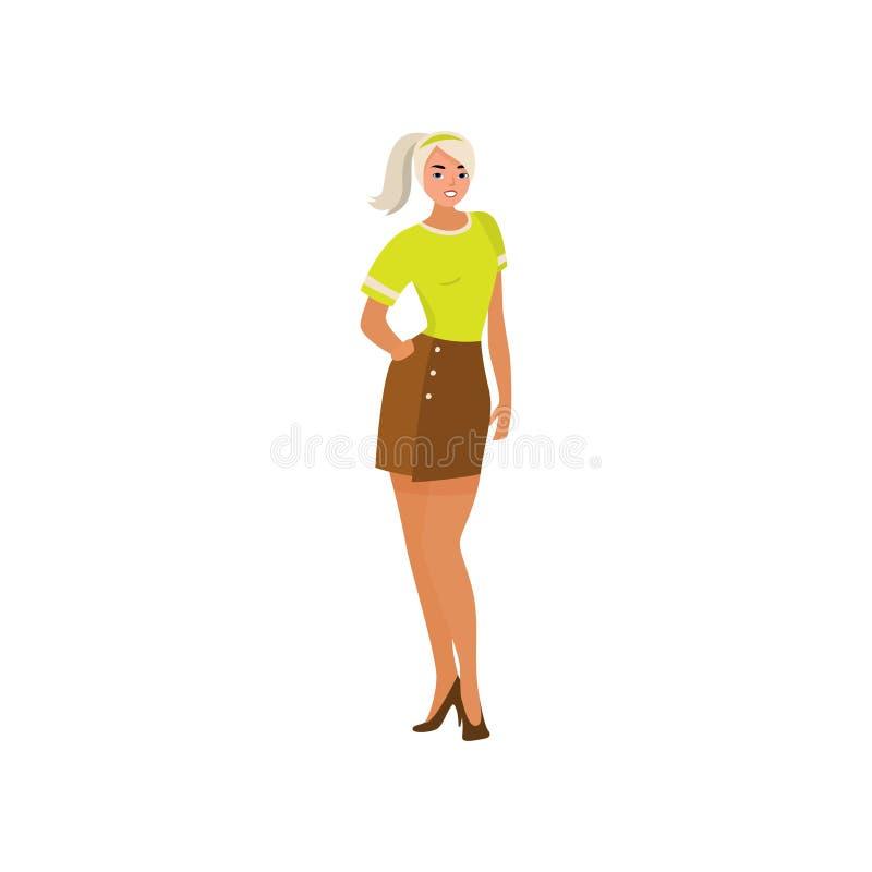 Leuk sexy blondemeisje in groene t-shirt en bruine rok vector illustratie
