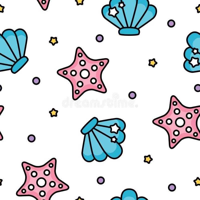 Leuk shell en zeester overzees pastelkleurpatroon op witte achtergrond royalty-vrije illustratie