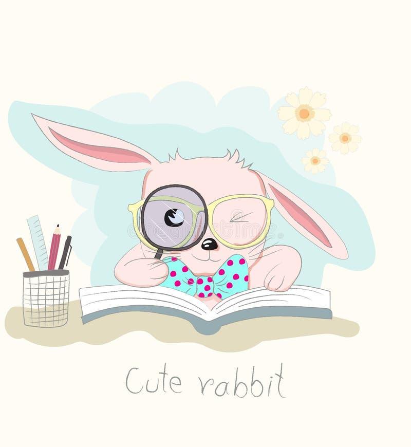 Leuk slim beeldverhaal weinig boek van de konijnlezing Hand getrokken stijl stock illustratie