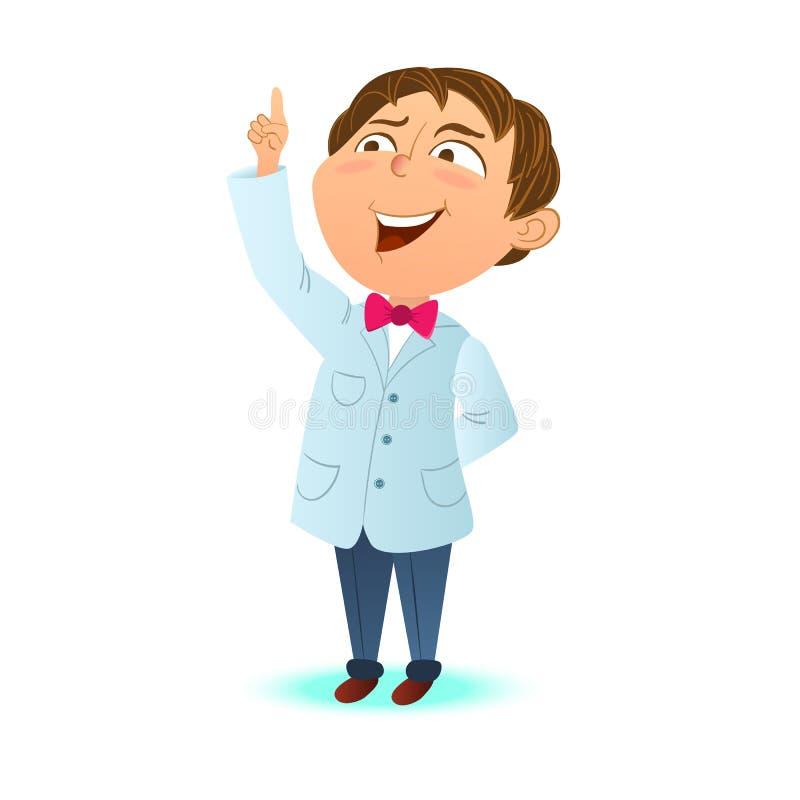 Leuk slim jong geitje, een wijsvinger van de jongenswetenschapper omhoog De slimme jongen kreeg het idee Beeldverhaalkarakter, ma vector illustratie