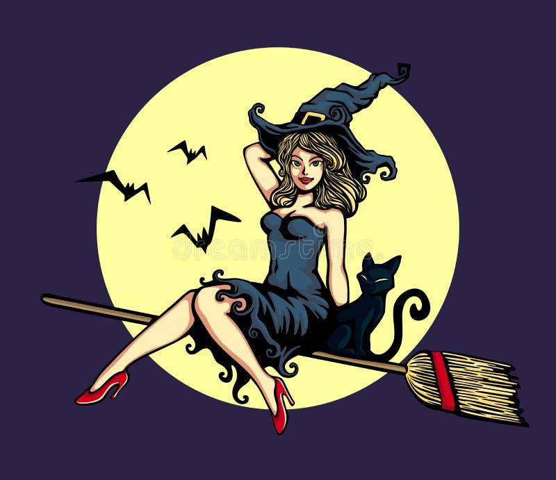 Leuk speld-omhooggaand meisje in van de bezemsteelhalloween van het heksenkostuum de berijdende vliegende vectorillustratie royalty-vrije illustratie