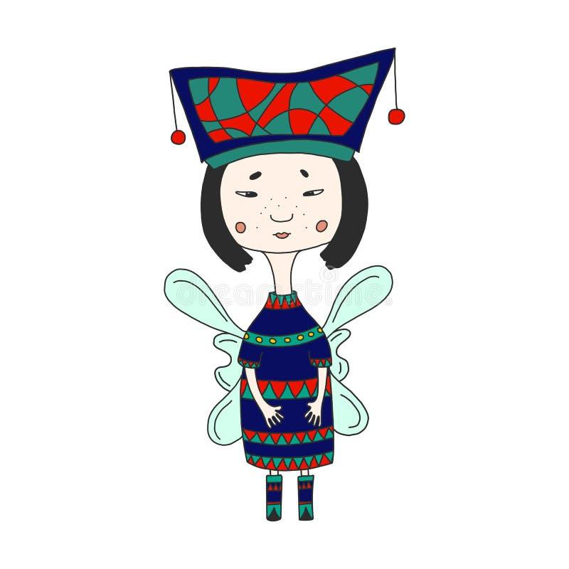 Leuk sprookjekarakter Mooi Oosters meisje in een helder kostuum en vleugels Grappige gevleugelde elfprinses in beeldverhaalstijl  stock illustratie