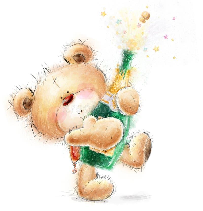 Leuk Teddy Bear met de fles close-upchampagne Het uitstekende etiket van de theetijd De gelukkige kaart van de verjaardagsgroet royalty-vrije illustratie