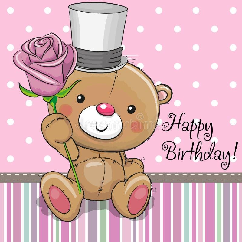 Leuk Teddy Bear met een bloem vector illustratie