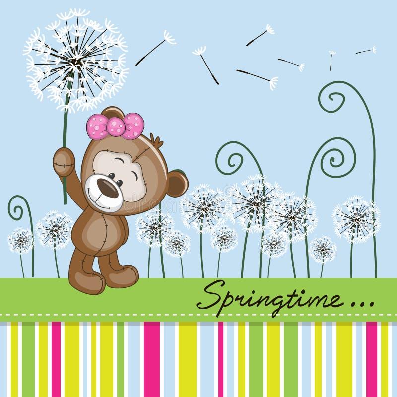 Leuk Teddy Bear met paardebloem stock illustratie