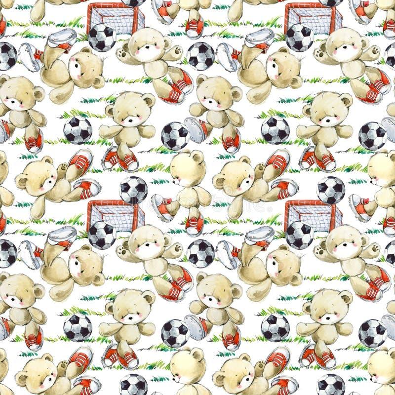 Leuk teddybeerspel in het patroon van de voetbalwaterverf royalty-vrije illustratie