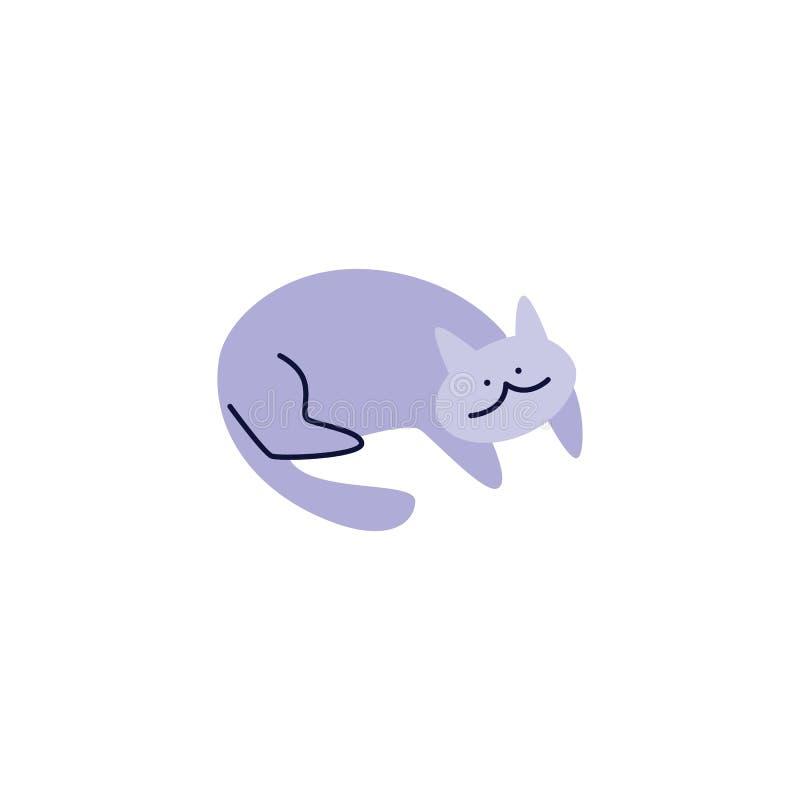 Leuk tevreden huisdier de kat of het katje die vlakke vector geïsoleerde illustratie leggen vector illustratie