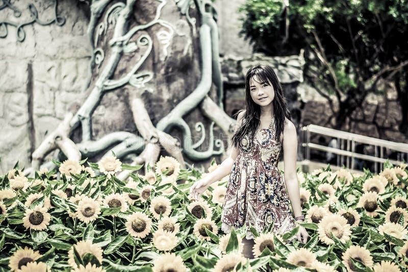 Leuk Thais meisje die zich in de mooie zonnebloemscène bevinden in grun stock afbeelding