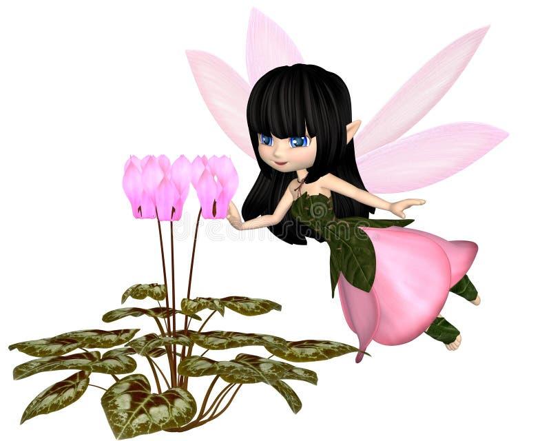 Leuk Toon Pink Cyclamen Fairy, het Vliegen stock illustratie