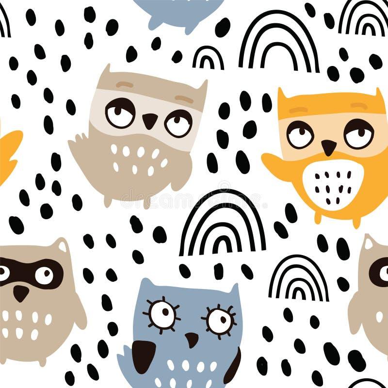 Leuk uilen naadloos patroon stock illustratie