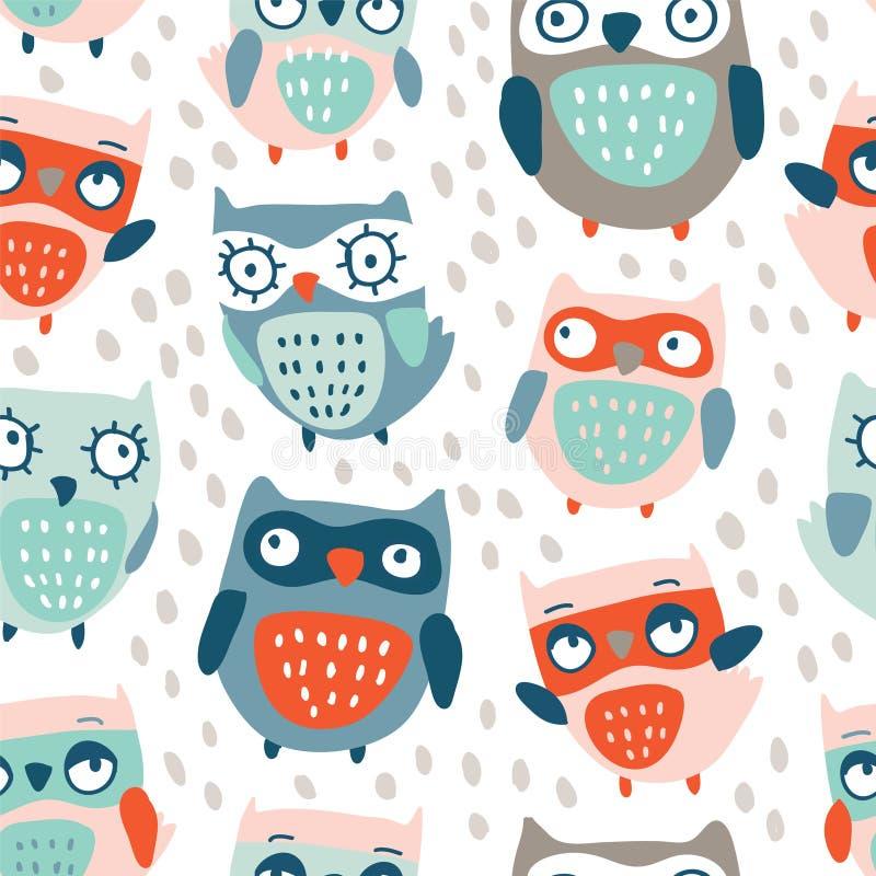 Leuk uilen naadloos patroon royalty-vrije illustratie