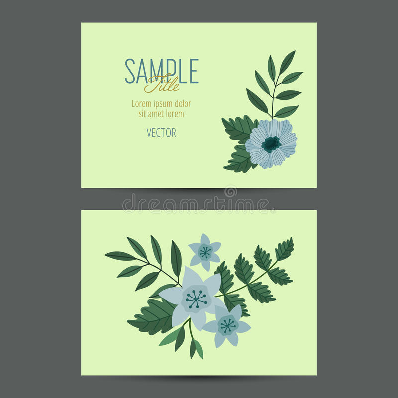 Leuk uitnodigingsmalplaatje met bloemdecoratie stock illustratie
