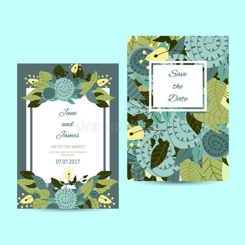 Leuk uitnodigingsmalplaatje met bloemdecoratie royalty-vrije illustratie