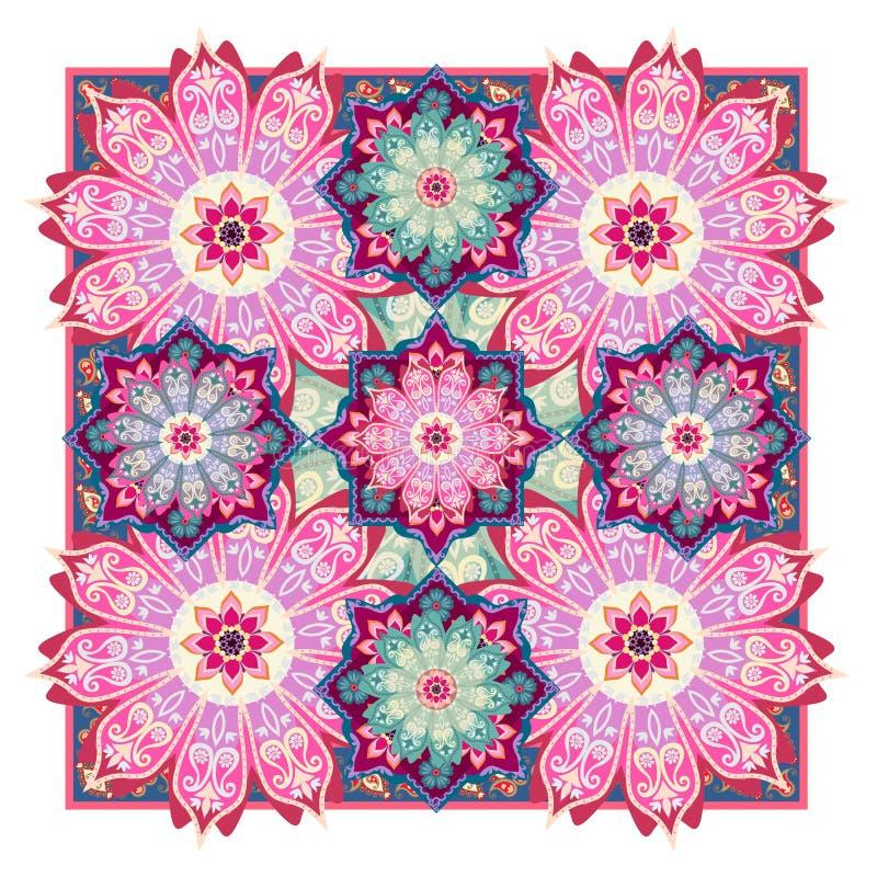 Leuk unduan ornament met bloemenmandalas en medaillons Tapijt, sjaal, kussen, tafelkleed, het verpakken ontwerp vector illustratie