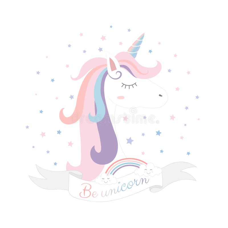 Leuk Unicorn Princess, Magisch schepsel vector illustratie