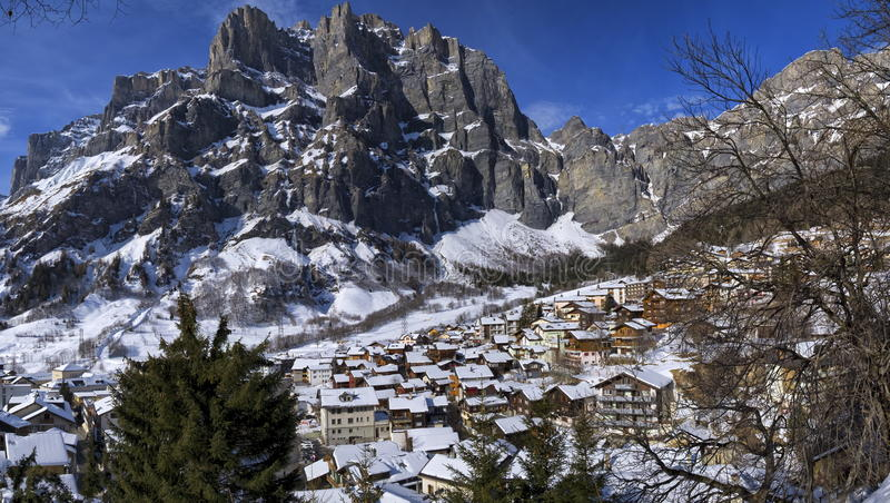 Leuk, Valais, Switzerland. Aerial view of Leuk village by winter, Valais, Switzerland royalty free stock photography